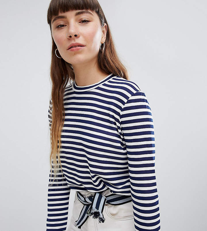 Daisy Street Relaxed Long Sleeve T-Shirt In Breton Stripe