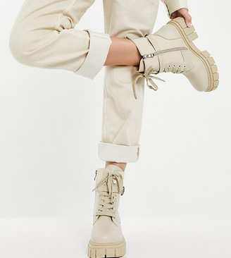 Simmi Wide Fit Simmi London Wide Fit Kai chunky lace-up boots with buckles in stone