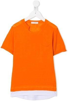 Paolo Pecora Kids cut-out detail front pocket T-shirt