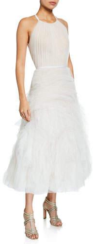 Marchesa Halter-Neck Textured Tulle Draped Bodice Tea-Length Gown