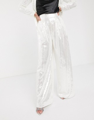 ASOS EDITION wide leg pleat front trouser in sequin
