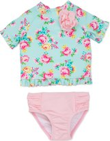 Little Me Girls' Little Girls' Short Sleeve Swim Rashguard Set