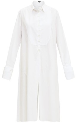 Ann Demeulemeester Tuxedo-bib Cotton-poplin Shirt Dress - White