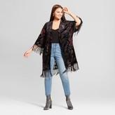 Xhilaration Women's Plus Size Burnout Printed Velvet Kimono Black
