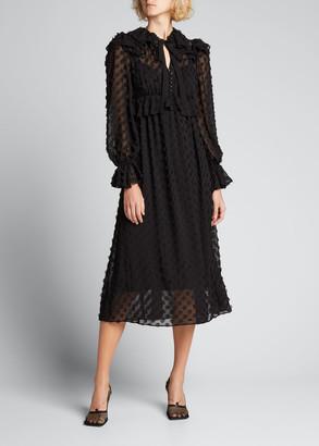 Zimmermann Textured Ruffle Midi Dress