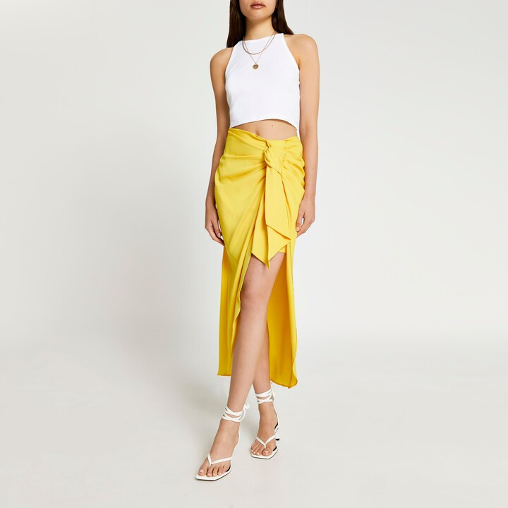 Thumbnail for your product : River Island Womens Yellow satin front tie midaxi skirt