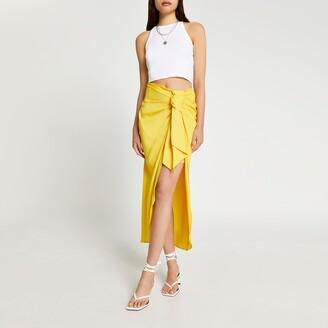 River Island Womens Yellow satin front tie midaxi skirt