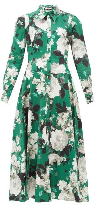 Erdem Josianne Rose-print Cotton-poplin Shirt Dress - Green White