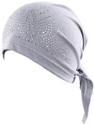 Greenlans Fashion Lady Rhinestone Muslim Turban Hat Chemo Cap Hair Loss Hijab Cap Cover Grey