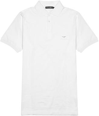 Dolce & Gabbana White pique cotton polo shirt