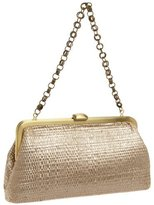 Tonia Painted Straw Clutch with Chain