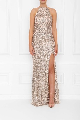 Honor Gold Harley Gold Sparkle Sequin Backless Maxi Dress With Split