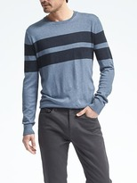 Banana Republic Silk Cotton Cashmere Chest-Stripe Pullover