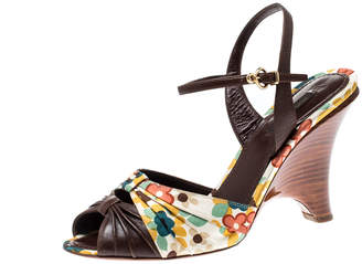 Louis Vuitton Brown Motif Printed Canvas And Leather Ankle Strap Sandals Size 39.5