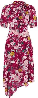 Monsoon Frances Print Lurex Spot Hanky Hem Dress - Berry