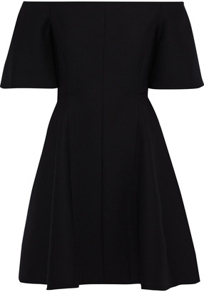 Valentino Off-the-shoulder Wool And Silk-blend Cady Mini Dress