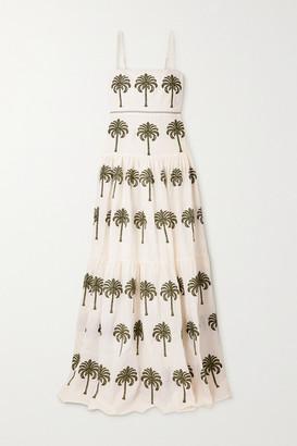 Agua Bendita Lima Tiered Embroidered Cotton Maxi Dress - White