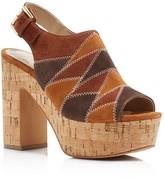 Marc Fisher Queenie Patchwork Cork Platform High Heel Sandals