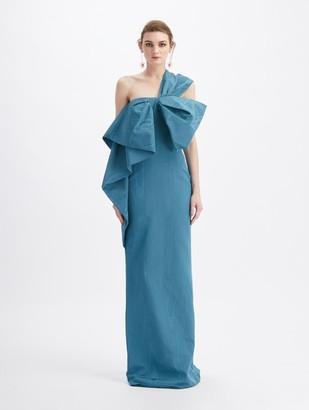 Oscar de la Renta Moire Faille One Shoulder Bow Gown