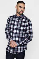 boohoo Black Brushed Check Long Sleeve Flannel Shirt