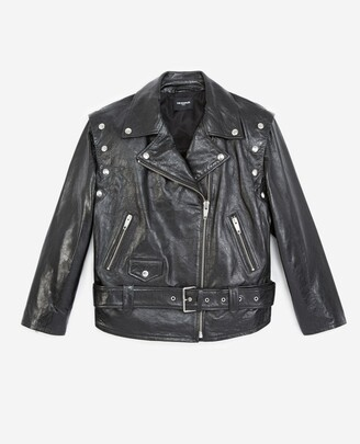 The Kooples Black leather jacket with detachable sleeves