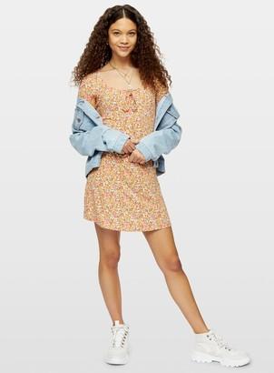 Miss Selfridge PETITE Coral Ditsy Print Jersey Dress