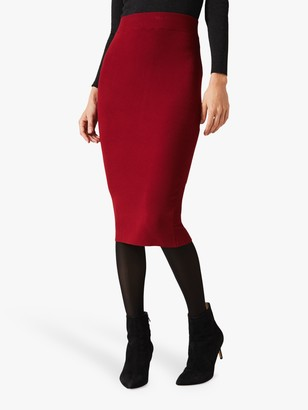Phase Eight Rea Rib Skirt, Rust