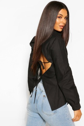 boohoo Cotton Poplin Open Back Fitted Shirt
