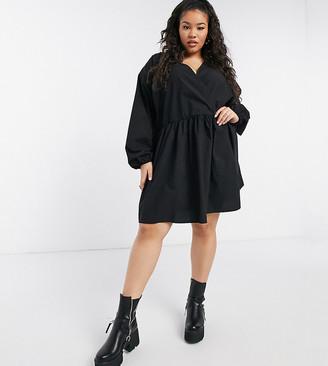 ASOS DESIGN Curve casual cotton poplin wrap front mini smock dress in black