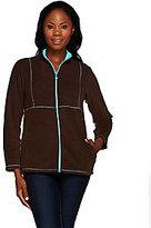 As Is Quacker Factory Rhinestone Zip Front Fleece Jacket