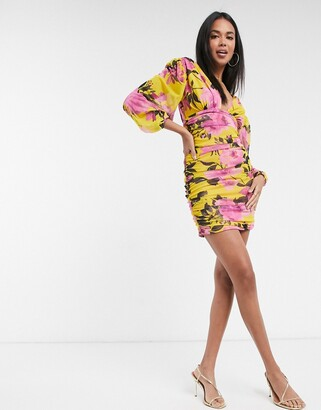 ASOS DESIGN ruched mesh plunge mini dress with long sleeves in bright floral print