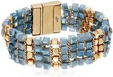 "Kenneth Cole New York Blue Mood"" Woven Faceted Bead Magnetic Bracelet, 7.5"""
