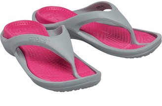 Crocs Womens Athens Flip Flops Light Grey/Candy Pink