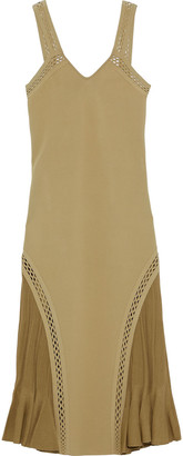 Roberto Cavalli Fluted Ribbed Knit-paneled Ponte Dress