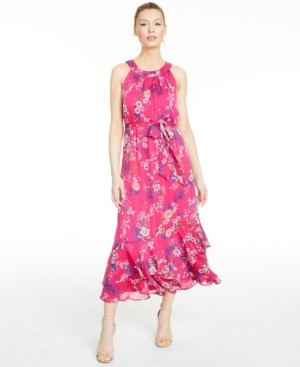 Calvin Klein Floral-Print Halter Maxi Dress