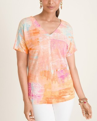 Chico's Multi-Colored Brushed V-Neck Linen Tee