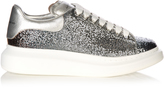 Alexander McQueen Low-top glitter-leather platform trainers