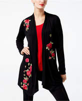INC International Concepts Embroidered Asymmetrical Cardigan, Created for Macy's