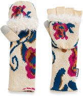 Muk Luks Women's Roses Convertible Flip-Top Tech Mittens