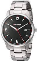Wenger Men's 'City Active' Swiss Quartz Stainless Steel Casual Watch, Color:Silver-Toned (Model: 01.1441.110)