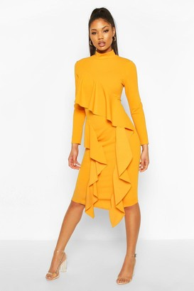 boohoo High Neck Ruffle Front Midi Dress