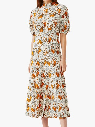 Ghost Luella Pineapple Print Midi Dress, White/Orange
