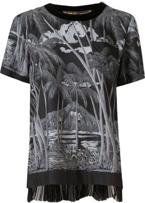 Sacai Palm Tree-Print Poplin Top