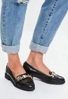 Missguided Black Chain Tassel Loafers, Black