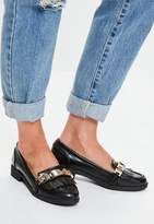 Missguided Black Chain Tassel Loafers