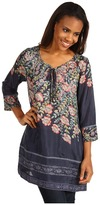 Johnny Was 3/4 Sleeve Lace Insert Tunic (Dark Floral Multi) - Apparel