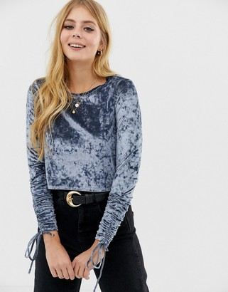 Brave Soul crushed velvet ruche sleeve top in steele-Blue