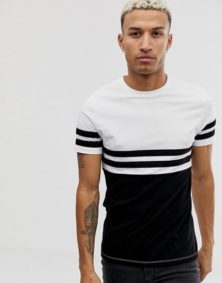 Asos DESIGN t-shirt with contrast body and sleeve panels in black