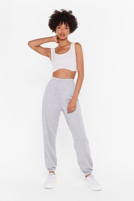 Nasty Gal Womens Jog the Limelight Stretch Joggers - Grey - L, Grey