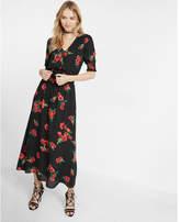 Express smocked lace-up v-neck midi dress